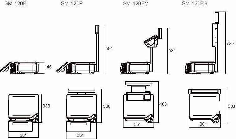 DIGI SM-120 Series Printer Dimensions