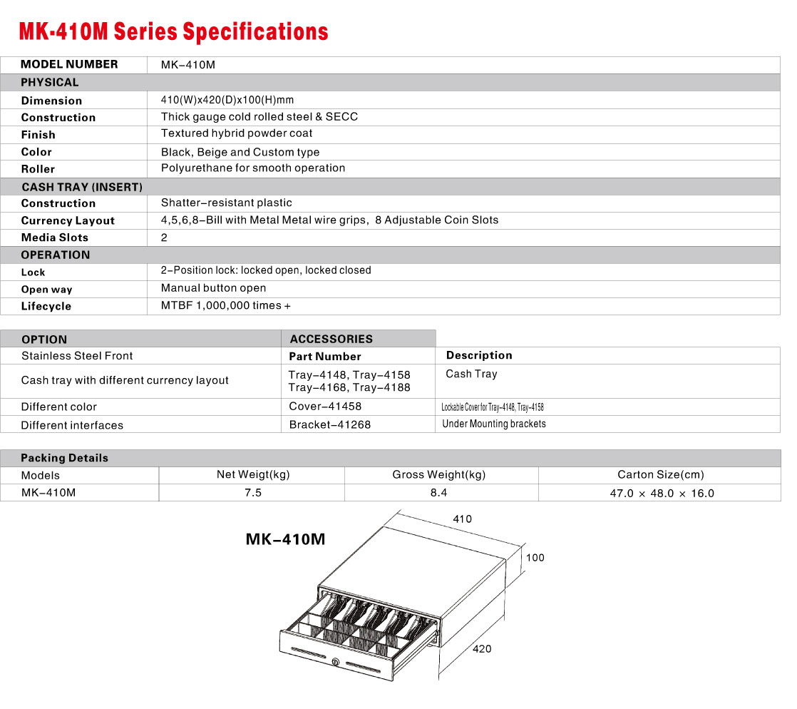 MK-410M Cash Drawer Specification